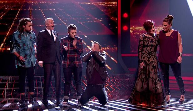 Sam Callahan is saved from the public vote on 'The X Factor - Results show', Shown on ITV1 HD Luke Friend, Louis Walsh, Nicholas McDonald, Sam Callahan, Sharon Osbourne, Sam Bailey (3 November)