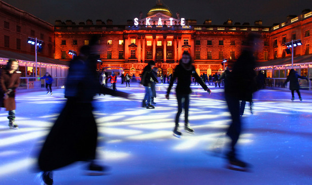 People ice skating outside Somerset House, London in 2010
