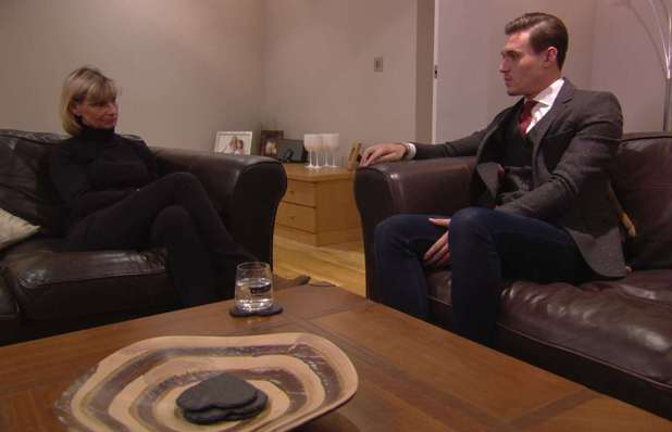 Charlie Sims talks to Ferne McCann's mum, Gill. The Only Way Is Essex / TOWIE - 6 November 2013.