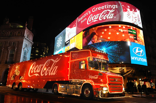 Coca Cola Christmas truck driving through London in 2011