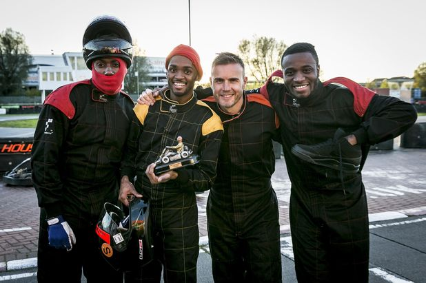 'The X Factor' Super Gary-O-Kart, London, Britain - 04 Nov 2013 - Rough Copy's Joey James, Kazeem Ajobe, Sterling Ramsey and Gary Barlow