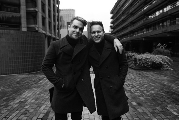 Olly Murs and Robbie Williams on the set of 'Hand On Heart'