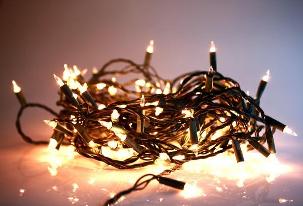 Fairy lights lit up, xmas lights - 2013