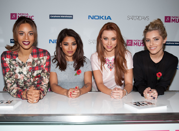 The Saturdays - Photocall at Carphone Warehouse at the Westfield London to celebrate their collaboration with Nokia Lumia 520, 4 November 2013