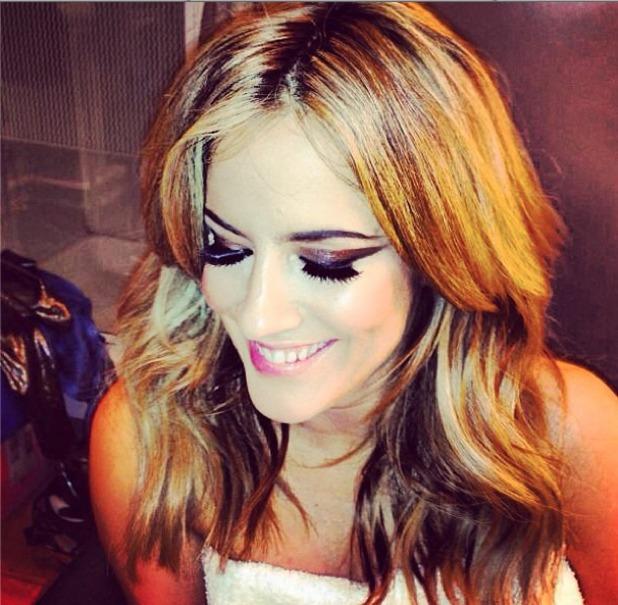 Caroline Flack shows off a close-up of her Xtra Factor disco make-up on Instagram, 4 November 2013