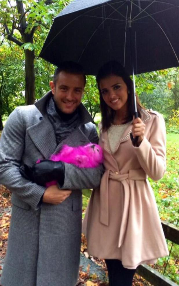 TOWIE's Elliott Wright and Lucy Mecklenburgh pose with pink dog Lola - 6.11.2013