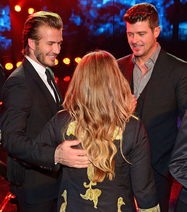 David Beckham and Robin Thicke at the GQ Germany Men of the Year Awards, 7 November 2013