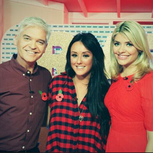 This Morning' TV Programme, London, Britain - 05 Nov 2013 Charlotte Crosby poses with Holly Willoughy and Phillip Schofield
