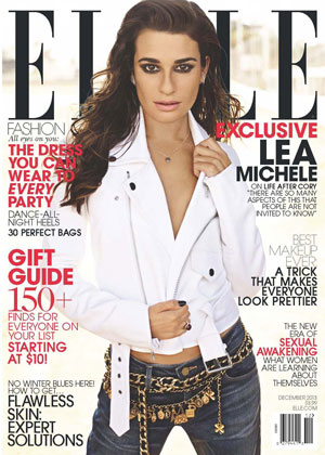Lea Michele covers December 2013 issue of American ELLE magazine