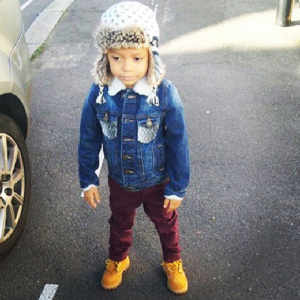 Jourdan Dunn tweets a picture of her son while at Legoland, November 2013