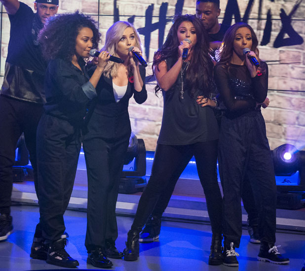 Little Mix - Perrie Edwards, Jesy Nelson, Leigh-Anne Pinnock and Jade Thirlwall on ITV's Daybreak 5 Nov 2013