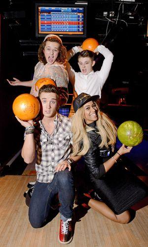 Luke Friend, Tamera Foster, Sam Callahan, Nicholas McDonald at All Star Lanes bowling alley, London.