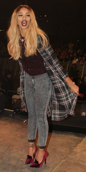 The X Factor's Tamera Foster switches on the Christmas lights with former contestant, Jahmene Douglas, at Bluewater Shopping Centre, Kent (15 Nov 2013)