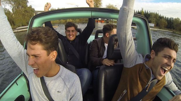 The Only Way Is Essex - TOWIE James 'Arg' Argent, Joey Essex, Tom Pearce and James 'Diags' Bennewith take an aqua car for a spin (Episode: Wednesday 13 November 2013)