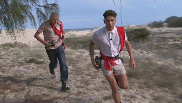 Steve Davis and Joey Essex during the Red Team Race on ITV1's 'I'm A Celebrity Get Me Out Of Here', due to air on 17 Nov 2013
