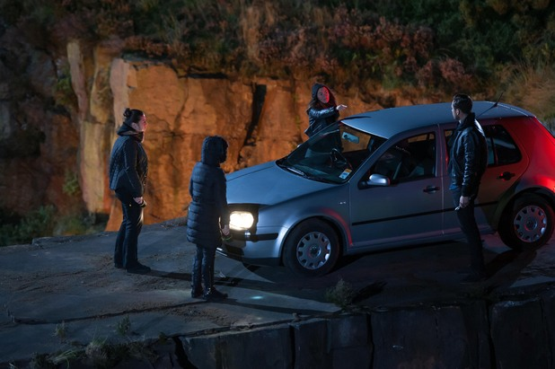 Hollyoaks, the girls and Freddie push Browning over the cliff, Tue 12 Nov