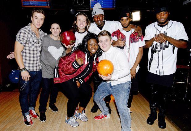 Luke Friend, Tamera Foster, Sam Callahan, Nicholas McDonald, Sam Bailey, Hannah Barrett and Rough Copy at All Star Lanes bowling alley, London.