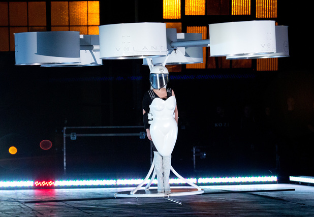 Lady Gaga Celebrates Artpop Album with Volantis Flying Dress Press Conference, Art Installations and Red Carpet in New York, United States. 11/10/2013