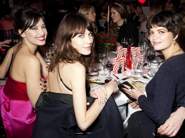 Alexa Chung, Daisy Lowe and Pixie Geldof at the British Heart Foundation Tunnel of Love party in London. 12.11.13