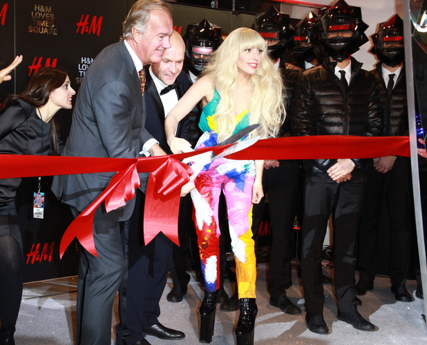 Lady Gaga opening the new H&M store in Times Square, New York - 13 November 2013