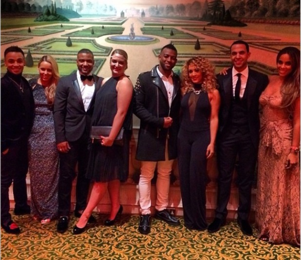 Children in Need dinner at the Grosvenor House Hotel Ballroom, London, Britain - 11 Nov 2013 Group photo of Marvin Humes, Aston Merrygold, Jonathan Gill, Oritse Williams with their wives / girlfirends. 11 Nov 2013