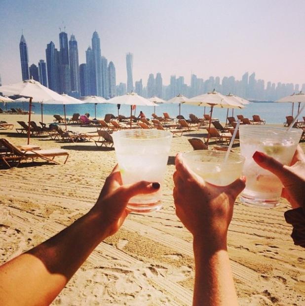 Sam Faiers and Ferne McCann on the beach in Dubai - 12.11.2013