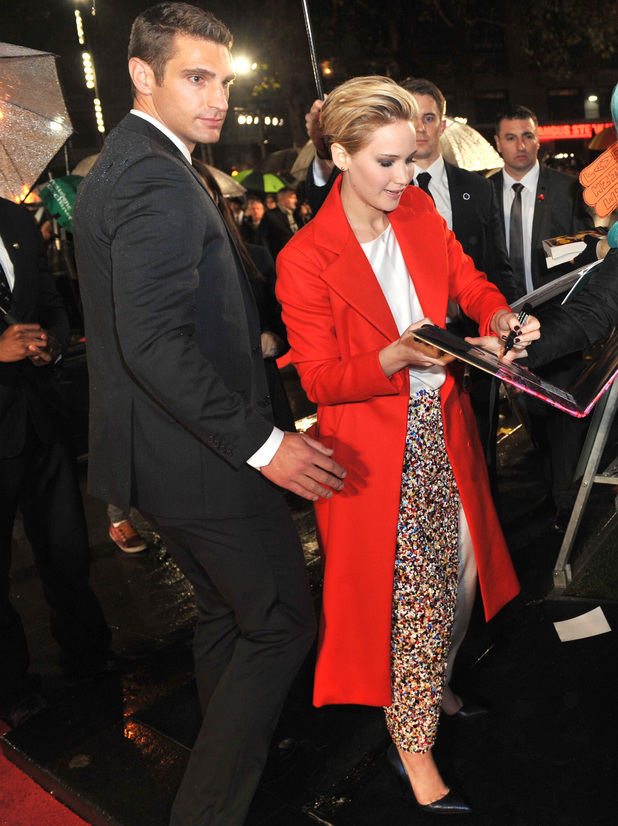 Jennifer Lawrence, The world premiere of 'Hunger Games' held at the Odeon Leicester Square, 11 November 2013