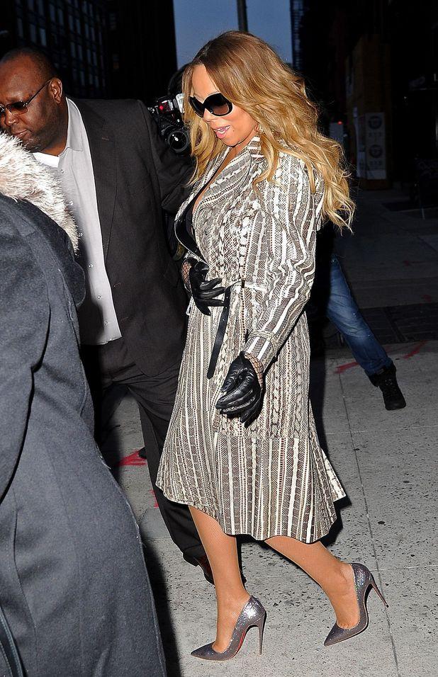 Mariah Carey wearing black dress, snakeskin coat, New York, America - 12 Nov 2013