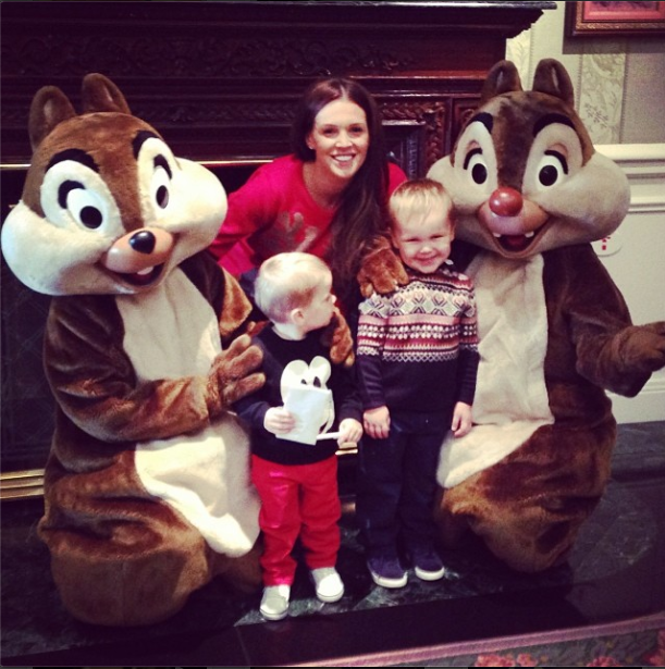 Danielle Lloyd with her sons Archie and Harry at Disneyland Paris, Nov 13.