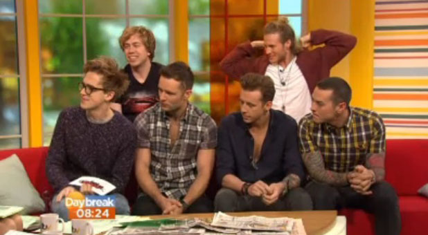 McBusted - aka McFly and Busted - appear on ITV's Daybreak, 15 November 2013