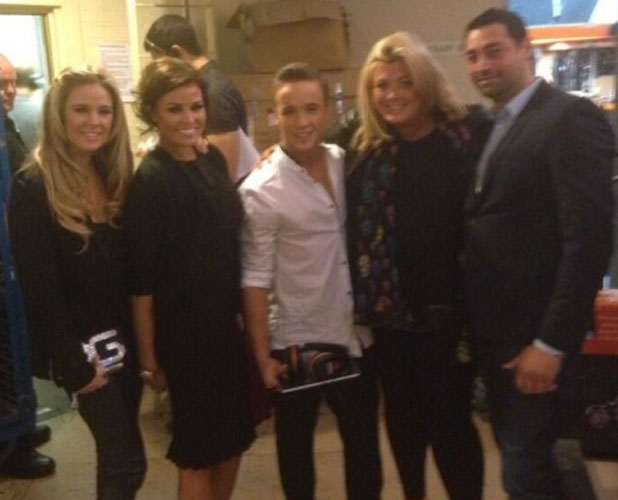 Sam Callahan with TOWIE's Gemma Collins and Jessica Wright, 11 November 2013