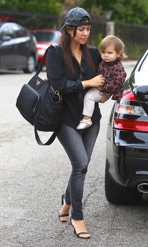 Kourtney Kardashian carrying a Prada diaper bag, takes her daughter Penelope Disick to a baby class in Beverly Hills - 20.11.2013