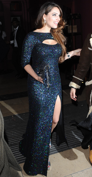 Kelly Brook seen arriving at Steam and Rye Launch in London in a sparkly dress. London, United Kingdom. 19 Nov 2013