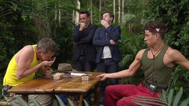 I'm A Celebrity... Get Me Out Of Here! Episode 2 aired Monday 18 November 2013 Featured: Joey Essex, Matthew Wright, Ant McPartlin, Declan Donnelly Caption: Matthew Wright and Joey Essex are seen taking part in 'Monday Night Take Away' bushtucker trial