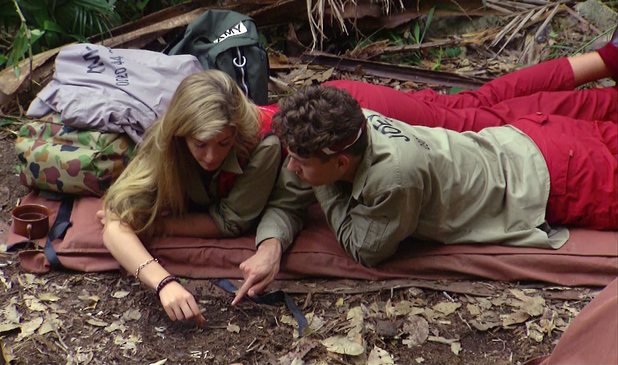 I'm A Celebrity... Get Me Out Of Here! Episode 2 aired Monday 18 November 2013 Featured: Amy Willerton, Joey Essex Caption: Amy Willerton teaches Joey Essex how to tell the time