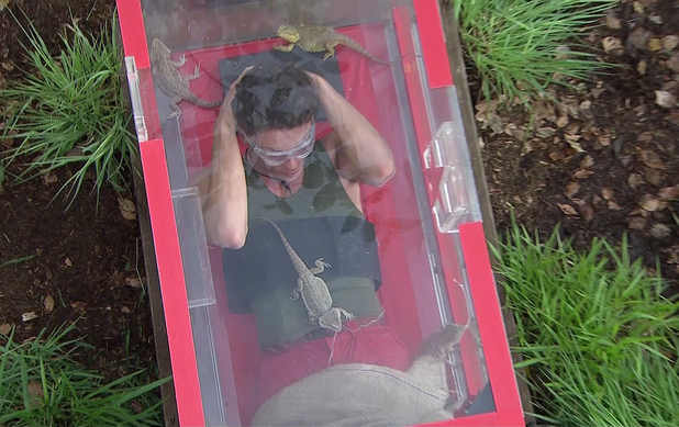 I'm A Celebrity... Get Me Out Of Here! Joey Essex takes part in in the 'Turn Table Of Horror' on 'I'm A Celebrity... Get Me Out Of Here!', Shown on ITV1 HD (17/11/13)