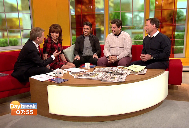 Daybreak TOWIE's Tom Pearce and James Argent appear on 'Daybreak', to talk about Joey Essex taking part in 'I'm A Celebrity... Get Me Out Of Here!' Person In Image:	Tom Pearce, James 'Arg' Argent, Richard Arnold, Aled Jones, Lorraine Kelly