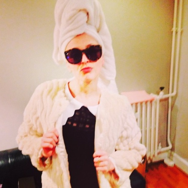 Fearne Cotton ends Celebrity Juice with a towel on her head, Nov 13.