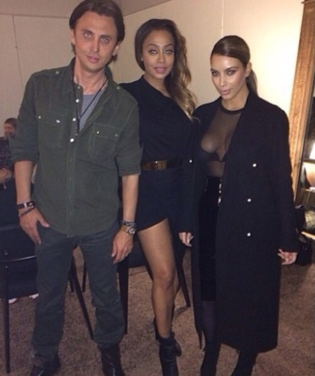 Kim Kardashian attends Kanye West Yeezus concert in Brooklyn, New York - LaLa and Jonathan Cheban 19.11.2013