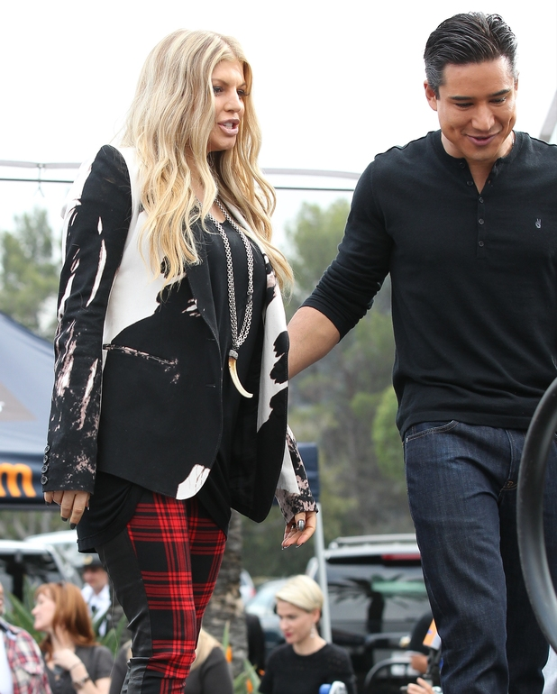 Fergie filming Extra with Mario Lopez in Los Angeles, United States 11/20/2013.