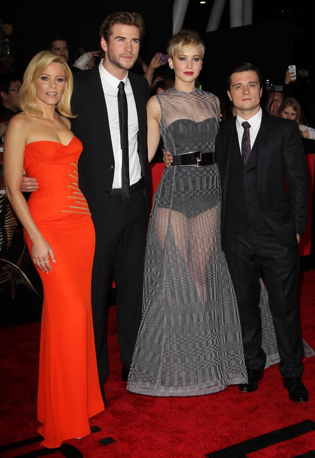 Jennifer Lawrence, Elizabeth Banks, Liam Hemsworth, Josh Hutcherson at The Hunger Games: Catching Fire premiere in Los Angeles, 18 November 2013