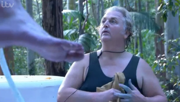I'm A Celebrity Get Me Out Of Here 2013: David Emanuel and Steve Davis do a washing task, 21 November 2013