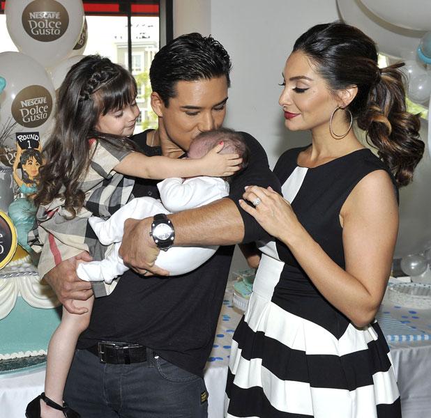 Mario Lopez and family at baby shower at Katsuya, Los Angeles, America - 16 Nov 2013