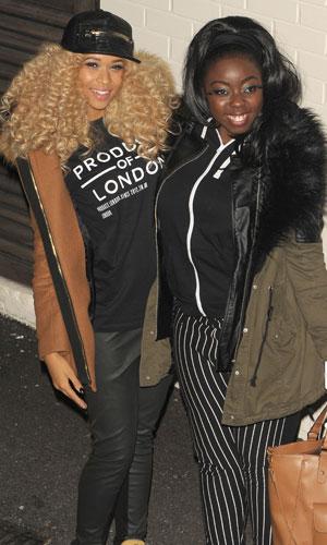 X Factor' contestants Hannah Barrett and Tamera Foster outside the studios, 2 November 2013
