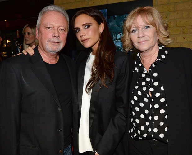 Victoria Beckham attends Kelly Hoppen MBE 'Design Masterclass' Book Launch Party with her parents, London, Britain - 18 Nov 2013