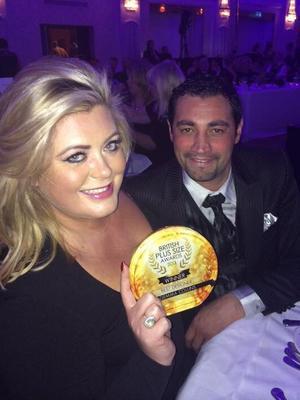 TOWIE's Gemma Collins wins award for Best Designer at the British Plus-Size Awards. Gemma pictured with boyfriend Rami Hawash