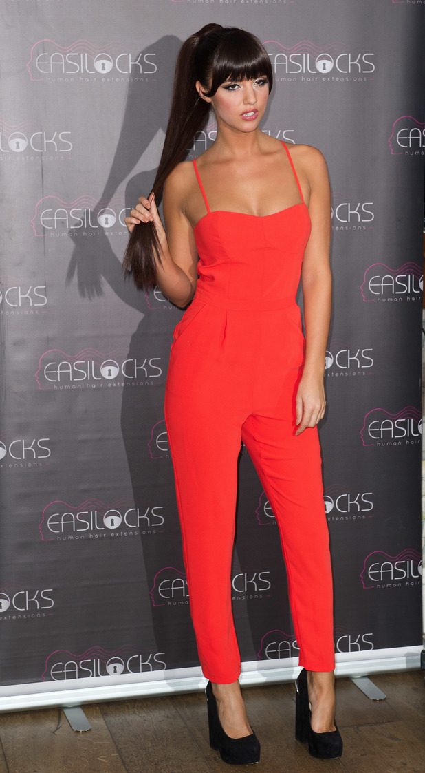 Lucy Mecklenburgh poses as new brand ambassador for Easilocks hair extensions, Charlotte hotel, London, 23 November 2013