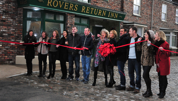 Michelle Keegan and the Corrie cast at the grand opening of the new Coronation Street set, 29 November 2013