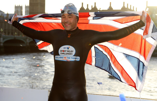 Comedian David Walliams completes the final day of his 140-mile Thames river swim for comic relief, London, England - 12.09.11