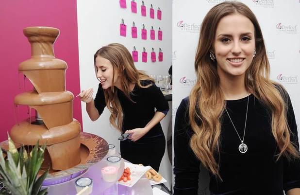 Lucy Watson eats chocolate fountain at Perfect Eyelashes - 29 November 2013